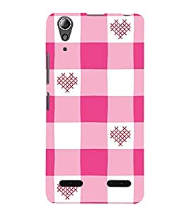 FUSON Pink White Checkered Heart 3D Hard Polycarbonate Designer Back Case Cover for Lenovo A6000 Plus :: Lenovo A6000+ :: Lenovo A6000