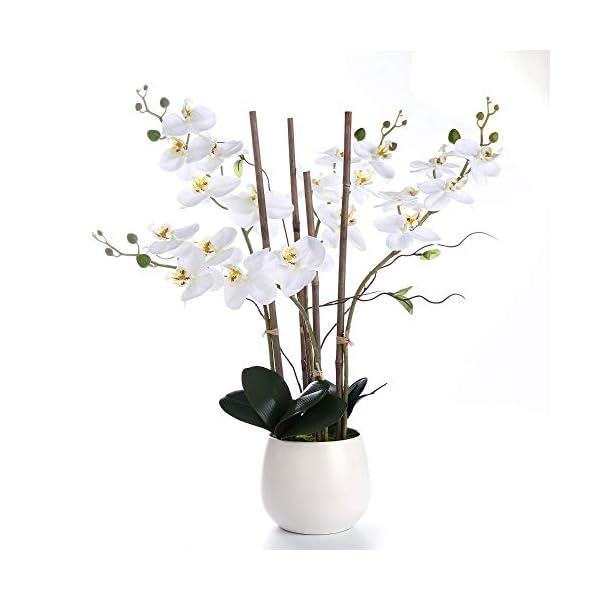 WEFLOWERS Arreglos de Flores Artificiales de orquídeas de Seda Blancas con jarrón, Toque realístico Real, decoración…