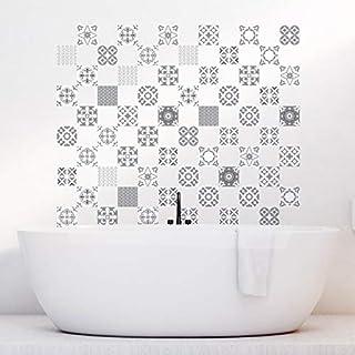 Ambiance-Live 60Aufkleber Fliesen   Sticker Selbstklebend Fliesen-Mosaik Fliesen Wandtattoo Badezimmer und Küche   Fliesen Kleber-Künstlerischen Graustufen-10x 10cm-60-teilig
