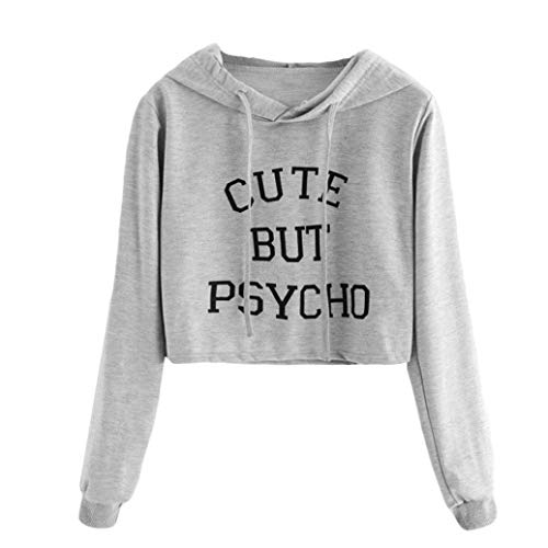 6c3f502239e6 Holywin Women Gray Long Sleeve Cute But Psycho Letter Print Hoodie  Sweatshirt Short Top