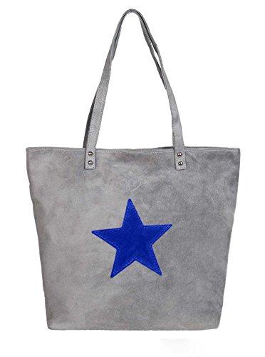 Handtasche / Ledertasche für Damen von der Marke Zwillingsherz hellgrau/blau