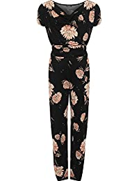 253d102d98 WearAll Women s Plus Short Sleeve Tied Belted Floral Print Cowl Neck Ladies  Jumpsuit 14-28