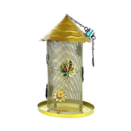 Dekorative Stacheldraht-Panorama-Vogel-Zufuhr, hängende wilde Vogel-Zufuhr for den Garten-Patio Vogel Fütterer (Color : Yellow) -