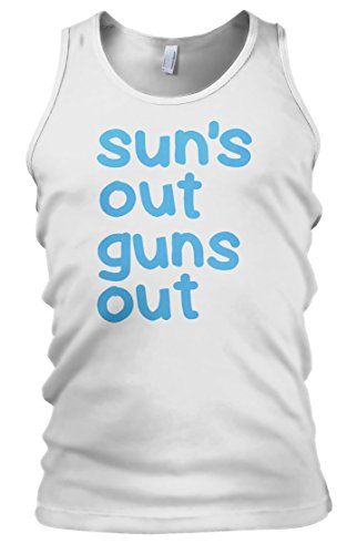 Suns Out Guns Out Mens Vest Tank Top - Gift For Husband - Gift For Boyfriend - Funny T-Shirt (Large, White) (Suns Out Guns Out Tank Top)
