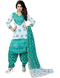 MEGHALYA Women's Satin Cotton Dress Material (White Satin Cotton Dress-4007)