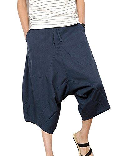 Pantalones Anchos Hombre Pantalones Cortos Bermudas Pantalones Hippies  Transpirable Pantalones De Lino Armada 3XL c4f7a0a069f1