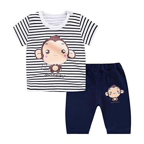 Sommer Kleinkind Baby Jungen Outfits Kurze Sätze Streifen Cartoon Muster Affe Kurzarm T-Shirt + Shorts Infant Sets für Spiel Wear (90) (Affen Outfits Für Kleinkinder)