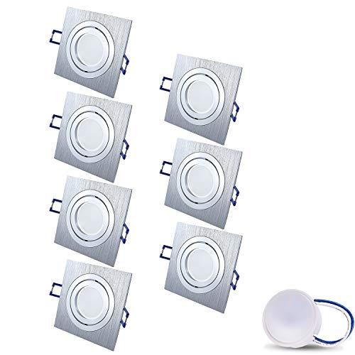 Foco LED empotrable orientable, extraplano, cuadrado, cromado mate/plateado, incluye módulo LED de...