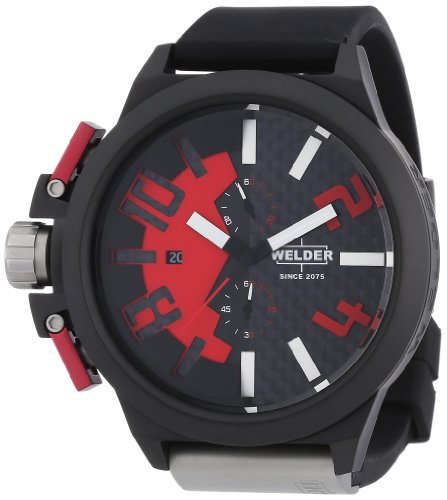 Welder -2501 K35- Montre Mixte - Quartz Chronographe - Bracelet Caoutchouc Noir