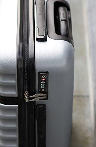 bugatti, Corium, 4 Doppel-Rollen Kabinen-Hartschalen Koffer, leichter Trolley, S - 55 cm, TSA Schloss, 34 l, 3.01 kg, silber - 3