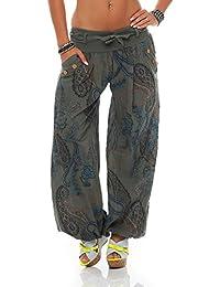 ZARMEXX dames bloomers pantalon sarouel été Pluder Aladin pantalons de plage ornement pantalon imprimé de coton