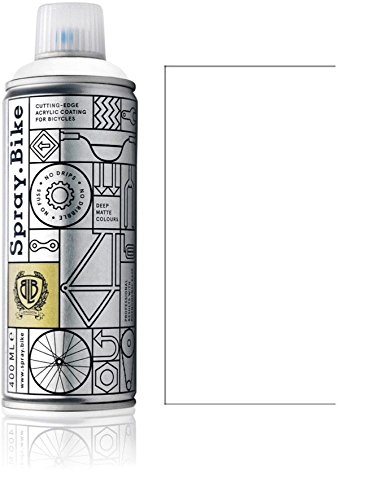 """Fahrrad Lackspray in versch. Farben - KEINE GRUNDIERUNG notwendig - Acryllack / Lack Spray in 400 ml Spraydose, Matt- und Klarlack Optik möglich (Weiß """"Whitechapel"""", Matt)"""