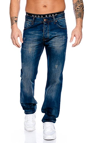 Rock Creek Herren Jeans Hose Blau RC-2102 [W38 L38] (Langer Rock Jeans)
