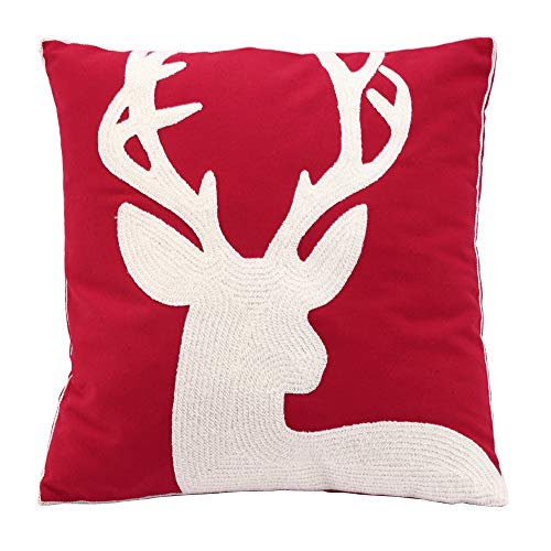 HUKD Weihnachten Halloween Deer Red 100% Cotton Febric Chenille Embroidery Cushion Home Decor für Bed Chair Sofa