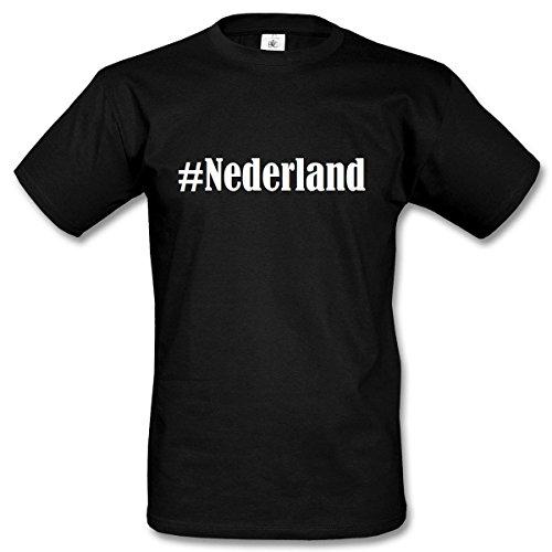 TShirt Nederland Hashtag Raute für Damen Herren und Kinder in den Farben  Schwarz und Weiss Schwarz