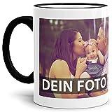 Tasse selbst individuell gestalten/Personalisierbar mit eigenem Foto Bedrucken/Fototasse/Motivtasse/Werbetasse/Firmentasse mit Logo/Rand & Henkel Schwarz