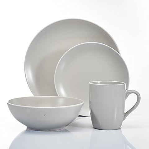 Vancasso EMILIA 16pcs Service de Table en Grès 4 Assiettes Plates 4 Assiettes à Dessert 4 Bols Assiette Creuse 4 Mugs Tasse Vaisselle Céramique pour 4 Personnes GRIS