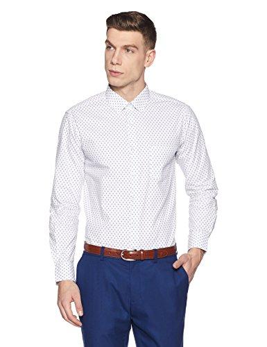 Diverse Men's Printed Regular Fit Cotton Formal Shirt (DVF01F2L01-235-39_White/Blue_39)