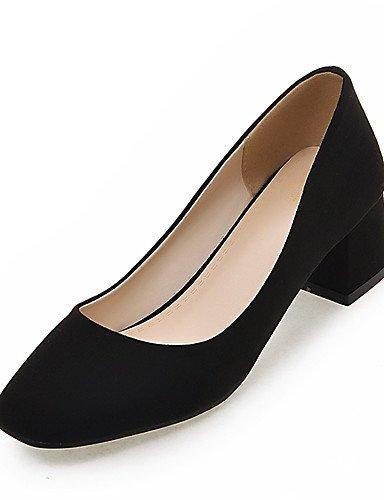 WSS 2016 Chaussures Femme-Habillé / Soirée & Evénement-Noir / Gris / Beige-Gros Talon-Bout Carré-Talons-Similicuir gray-us7.5 / eu38 / uk5.5 / cn38