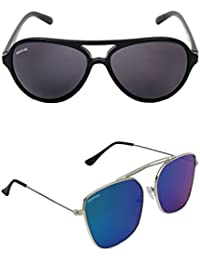 4e6add5cf0d1 Creature Black   Blue Aviator Sunglasses Combo with UV Protection  (Lens-Black   Blue