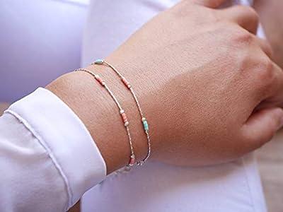 Lot de 2 Bracelets minimaliste argent 925 - chaine serpent argent - bracelet ultra fin - perles miyuki menthe et rose pastel - bijoux coloré