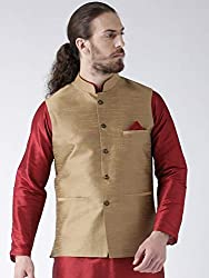 Deyann Beige Dupion Nehru Jacket, Modi Jacket for Men Party Wear