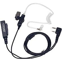 Coodio Kenwood Radio Cuffia 2-Pin Pro Microfono con Auricolare [Tubo Acustico] Headset la Sicurezza e Bodyguard Per Kenwood Baofeng UV-5R, UV-82 Midland Wouxun Ricetrasmittente