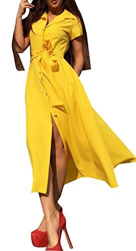 Blansdi Damen Frühling Sommer Elegant Revers Kurzarm A-linie Blusekleid Cocktail T-shirt-Kleid Lang Skaterkleid einfarbig Hemdkleid Festliches Partykleid mit Gürtel Gelb