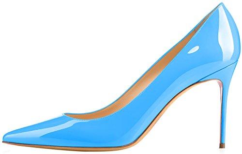 ELEHOT Femme 8.5cm Taille EU 34-46 Toyclock Aiguille 8.5CM Synthétique Escarpins bleu Sky