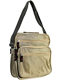 7e266e32e8 Vetrineinrete® Borsello da uomo con chiusura a zip borsa a spalla con  cinque tasche e tracolla regolabile borse a…