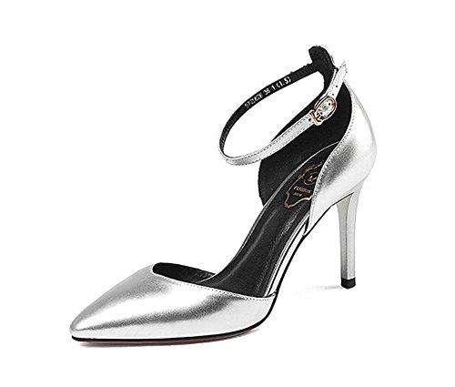 Beauqueen Pumps Spitz-Zehen-Knöchelriemen Stiletto Mid Heel Leder Frauen Casual Work Party Elegante Schuhe Silber Rosa Europa Größe 33-39 Pink