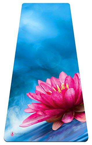 Premium Yogamatte und elegante Trageasche– dicke, extra-bequeme Matte, umweltfreundlich, rutschfest, universell für Yoga und Pilates geeignet. , Azure Lotus Flower