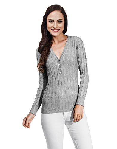 VB-Maglione da donna con scollo a V e bottoni, con perla Grey Medium