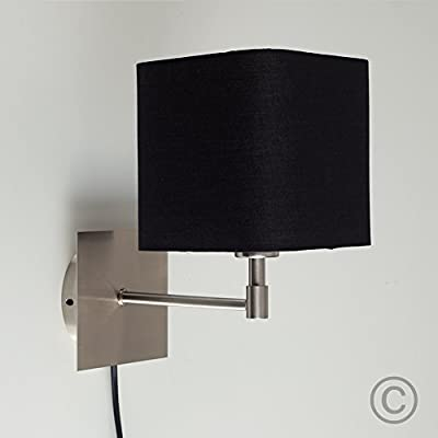 Modern Polycotton Square Design Brushed Chrome Wall Light with Practical Plug, Cable and Switch