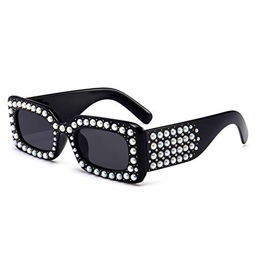 Kjwsbb Quadratische Diamant-Sonnenbrille-Frauen-Kristall Tendenz-Plastikrahmen-Bunte Straßenart-Sonnenbrille-Rosa-Weiß