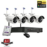 ROBORIX 4 Bullet camera wireless wifi IP 4 channel NVR 4MP Extra full HD CCTV Security camera kit (1TB Hard Drive included )