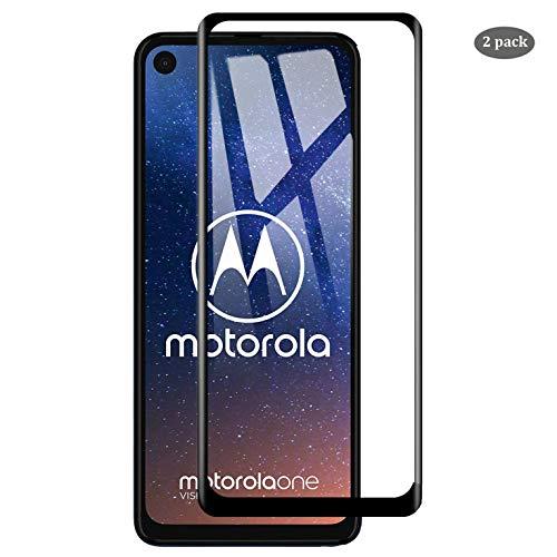 ELYCO für Motorola One Vision Panzerglas Schutzfolie, [2 Stück] Moto One Vision Panzerglasfolie 9H Härte Folie Glas Blasenfrei Schutzglas Bildschirmschutzfolie für Motorola One Vision -Schwarz