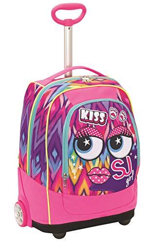 Big trolley facce da sj, 33 lt, rosa, sistema 2in1 zaino con sollevamento spallacci per uso trolley, scuola & viaggio