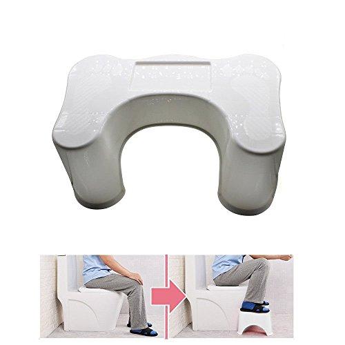 OUKANING Medizinische Toilettenhocker Rutschfester Toilettenhocker Toilettenhilfe Toilettenstuhl WC Schemel gegen Hämorrhoiden und Verstopfung (Höhe:21.5 cm, weiß)