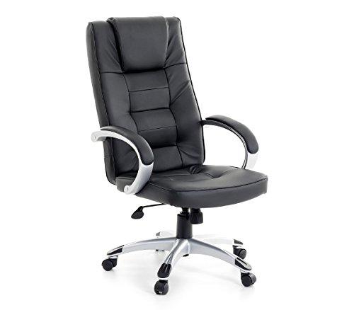 Leder Chefsessel Massagesessel San Diego Farbe schwarz + silber Bürostuhl mit Massage +...