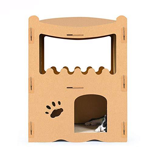 Daeou kratzbäume für Katzen Katze Hauskatze kratzen Board Wellpappe Raubkatze Villa Katze Schleifen Klaue Haus Kitty 53,5 * 33,5 * 71 cm