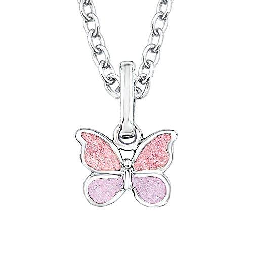 Prinzessin Lillifee Kinder-Kette Mädchen mit Anhänger Schmetterling 925 Silber Emaille rosa (Schmetterling Halskette Für Mädchen)