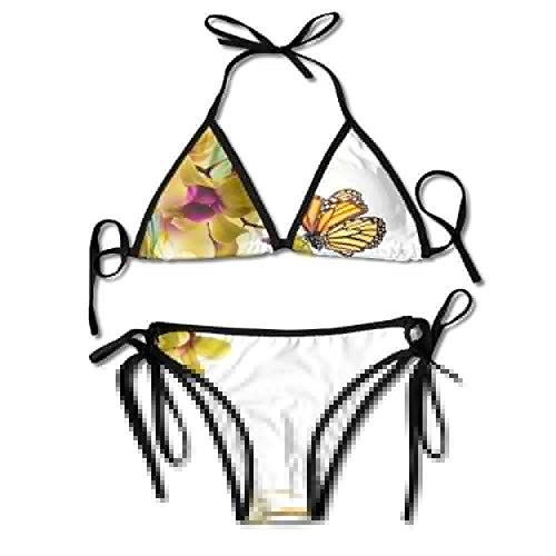 Orchid Underwire (Women's Thong Bikini Suit Swimsuit Butterflies Monarch Butterfly Orchid Water Sexy Bikini Set 2 Piece)