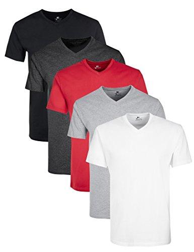 Lower East Herren T-Shirt mit V-Ausschnitt, 5er Pack, Mehrfarbig (Weiß/Schwarz/Grau/Anthrazit/Rot), X-Large (Fit Rot T-shirt Slim)