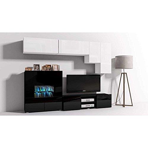 JUSThome Onyx X C LED Wohnwand Anbauwand Schrankwand Weiß Matt | Schwarz Hochglanz