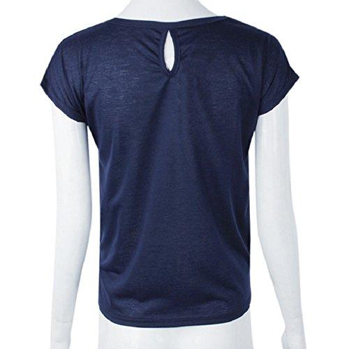 Culater® Sommer Frauen Anker lässig O-Ansatz Shirt Bluse blau
