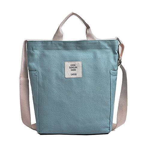 KIWITECH Umhängetaschen groß Tasche Canvas Damen Rosa Handtasche Damen Schultertasche Crossbody Bag Shopper für Schule Shopping Arbeit Einkauf (Grün)