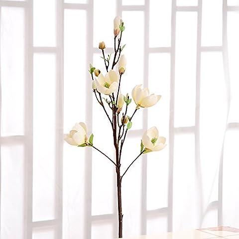 Fiori artificiali ShiQi vero tocco di fiori finti Soggiorno ornamento 1 rametto boccioli di fiore di Magnolia/White Festival Home Giardino decorazioni per matrimoni
