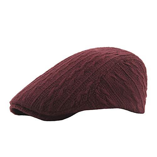 Damen Mütze,Beikoard Wollfaden Stricken Herbst und Winter Dicke warme Vordere Kappe Männer Einfarbig Kappe Damenmode Barett Hut