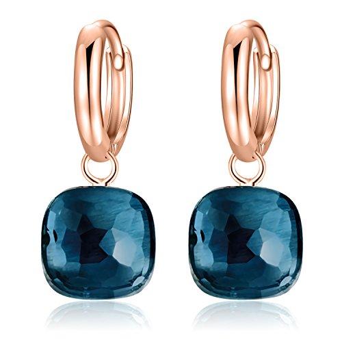 Metjakt, classici orecchini pendenti in argento sterling 925 massiccio, orecchini per donne, gioielli raffinati (dark blue, rosa placcato oro argento sterling)